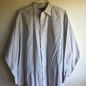 Men's stripped button down polo dress shirt